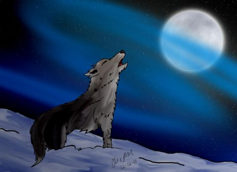 Wolf Howling at Moon. by Odintheknight