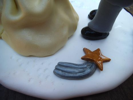 FIMO wedding cake topper - shooting star detail by craftymummy