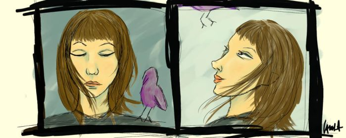 girl and bird by tecnicocacolor