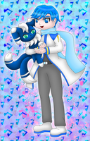 Vocaloid Kaito and Pokemon Meowstic by MikariStar