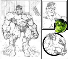 Sketch6:HULK and WOLVIE by Red-J