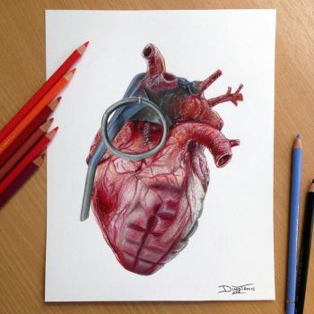 Grenade Heart Pencil Drawing by AtomiccircuS
