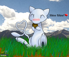 Shiny Mew eating a mini-cookie by Soldjermon