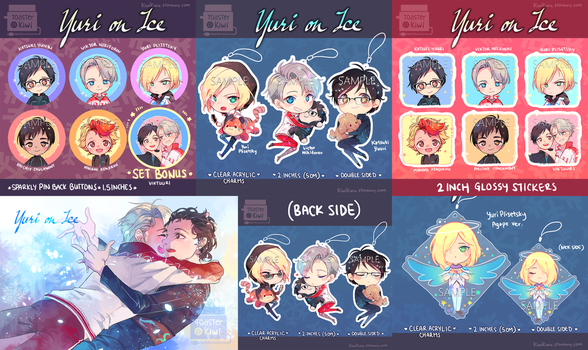 [points accepted] Yuri!!! On Ice Charms/buttons by ToasterKiwi
