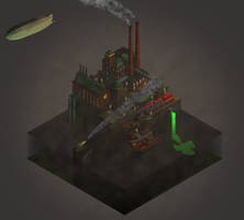 Old factory - Low poly, Isometric by Opikus