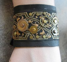 Steampunk Leather Cuff by Peaceofshine