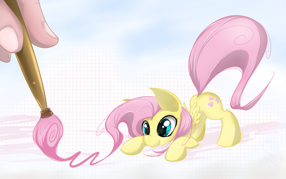 Fluttershy and brush by Malifikyse