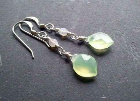 Elven Green Leaf Earring, White by QuintessentialArts