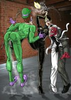 Catwoman Fight The Riddler and Two Faces by nicetarget