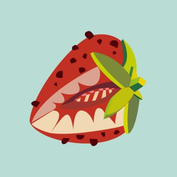 Strawberry fruit illustration by LIVEyourDR3AM