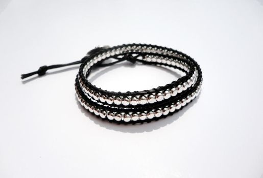 Silver Cube and Black Leather Wrap by Leesa-M