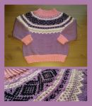 Childs purple Marius fair-isle sweater by KnitLizzy