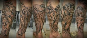 healed biomech freehand sleeve by 2Face-Tattoo