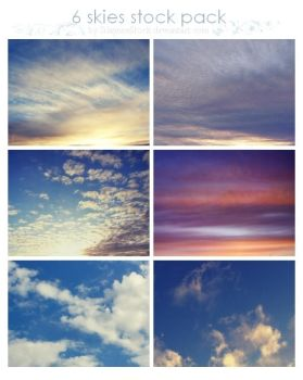 6 beautiful skies stock pack by SilaynneStock