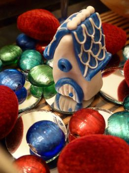 Blue and White Fancy Miniature Fairy House by FlyingFrogCreations