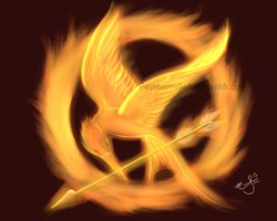 The Mockingjay on Fire by Nanaxxis-inxxthe-Uk