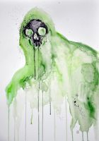 Green Death Watercolor Painting by TheNewestRedRanger